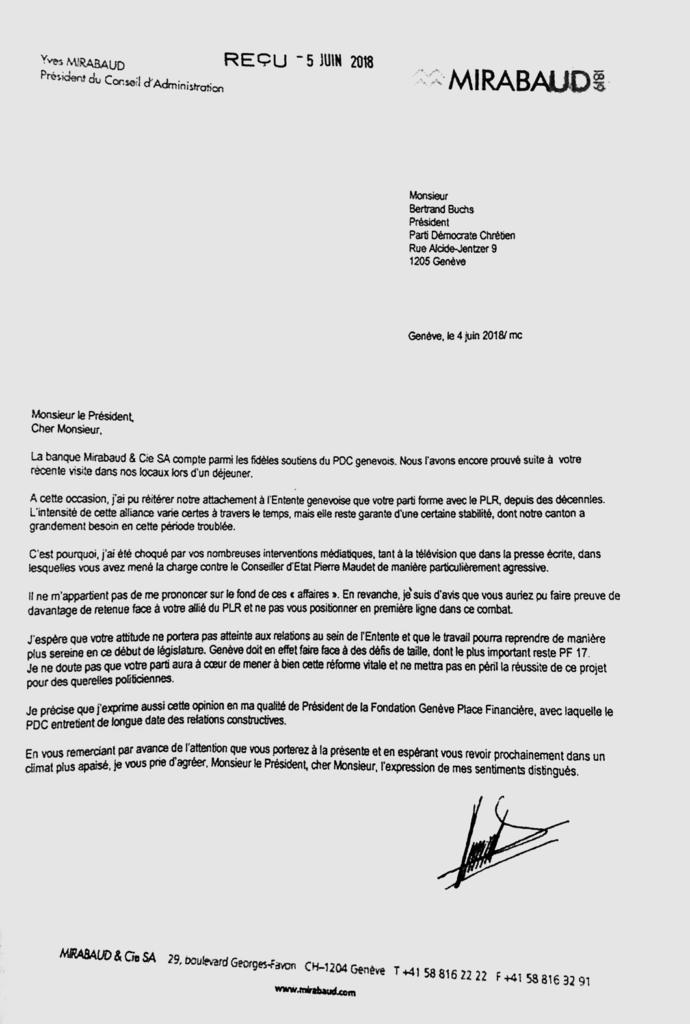 Lettre du banquier Yves Mirabaud au président du PDC genevois Bertrand Buchs